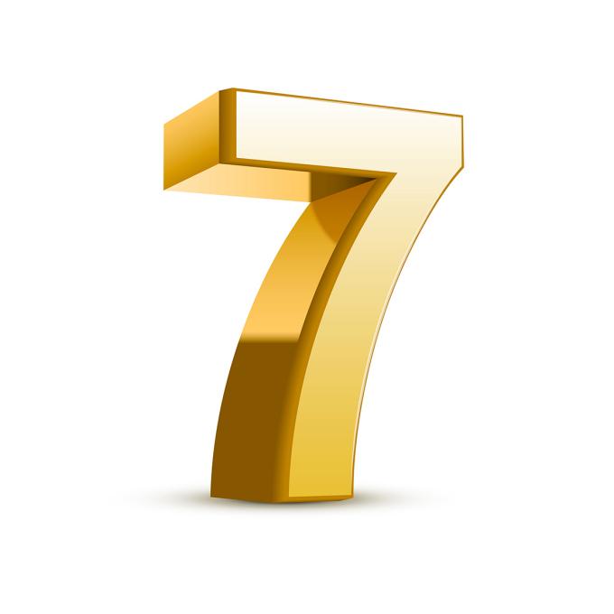 3d shiny golden number 7