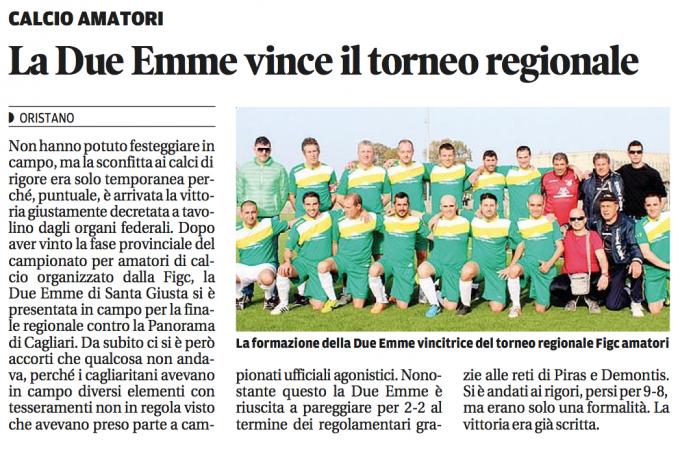 Due Emme Santa Giusta - vince il torneo 2014-2015