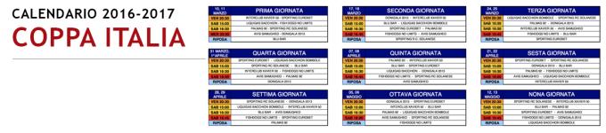 Calendario COPPA ITALIA 2016-2017